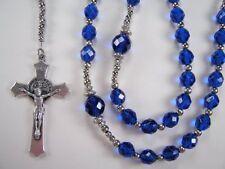 "Mens Capri Blue XL 25+"" Rosary Catholic Czech Glass Masculino Collar Rosario"