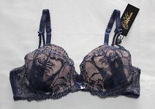 Dita Von Teese Ladies Countess Navy Nude Plunge Bra Size 12B 34B Y58471 Cut Tag