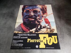 AFFICHE  BELMONDO / GODARD / PIERROT LE FOU RESS.