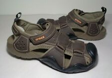 Crocs Size 12 SWIFTWATER FISHERMAN Brown Leather Sandals New Women's Shoes