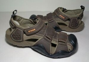 Crocs Size 10 SWIFTWATER FISHERMAN Brown Leather Sandals New Women's Shoes