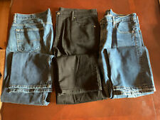 Preowned (3) Levi Jeans 569 style Size 36-32 Blues & Black