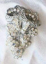 Elegant Art Deco Silver-tone Crystal Rhinestone Lily Bouquet Brooch 1930s vint.