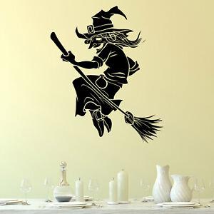 Witch on Broom Halloween Wall Sticker Decal Transfer Home Bedroom Matt Vinyl UK