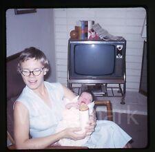 1960s amateur Kodachrome  Photo slide Lady holding a baby TV Television set