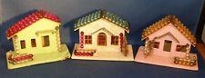 Set of 3 Vintage Putz Christmas Houses Mercury Glass Bead Roof Made Japan