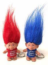 "Troll Keychain - Set of 2 - Good Luck - Lucky Bingo Troll - Red & Blue - 2"""