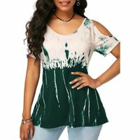 Blouse Floral Womens Casual T-Shirt Fashion Top Solid New Pullover Short Sleeve
