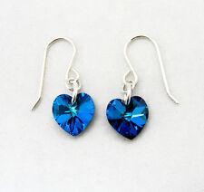 Sterling Silver Drop Earrings with SWAROVSKI ELEMENT Crystal Heart Burmuda Blue