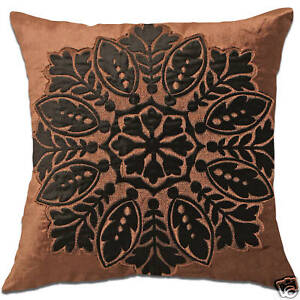 hippie attalla brown and black velvet embroidered cushion covers