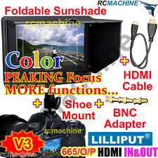 """Lilliput 7"""" 665/O/P HDMI In &Out PEAKING Focus Assist Monitor+cable+shoe mount"""