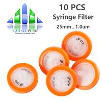 10pcs GF Syringe Filter 1.0um Micron OD=25mm Glass Fiber Membrane Disposable Lab