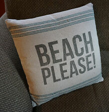 BEACH PLEASE Canvas Style Linen Couch Throw PILLOW Nautical Beach Home Decor NEW