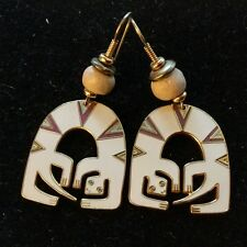 Rare LAUREL BURCH Lizard Spirit Burgundy BLUE WHITE ENAMEL DROP PIERCED EARRINGS