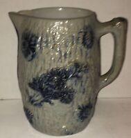 Antique WHITES of UTICA NY Pitcher #18 Cobalt Salt Glaze Stoneware