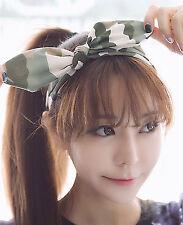 Women Lady Girls Green Army Camo camouflage Wire Bunny Ear Headband Hair Band