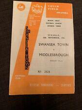 1966 Swansea Town V Middlesborough Football Programme