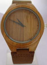 Genuine Leather Band Round Wooden Case Wristwatches