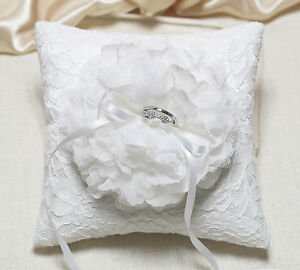 Wedding ring pillow off white bloom on white lace pillow Handmade Ring pillow