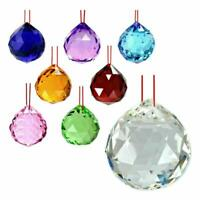 "FENG SHUI HANGING CRYSTAL BALL 1.5"" 40mm Choice of Colors Faceted Prism Sphere"