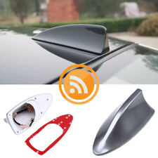 Universal Car Shark Fin Roof Antenna Aerial FM/AM with Radio Signal Decor Gray