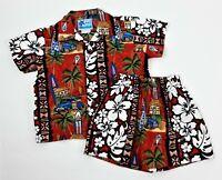 RJC Hawaiian Cabana Set Red Matching Shirt Shorts Boys Size 1T Surfboards Woodys