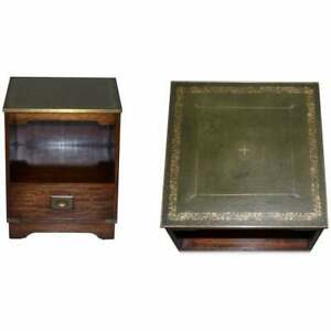 LUXURY MAHOGANY GREEN LEATHER BRASS TRIM MILITARY CAMPAIGN SIDE TABLE DRAWERS