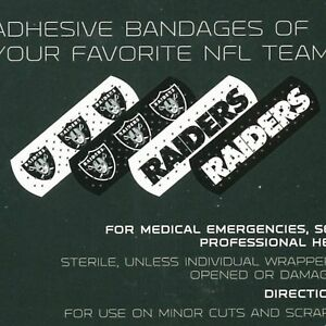 """NFL Team Logo Bandages 1""""x 3"""", 50 Count in Box-Officially Licensed"""