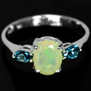 NATURAL AAA RAINBOW OPAL & LONDON BLUE TOPAZ STERLING 925 SILVER RING SIZE 7