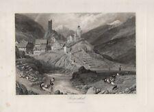 Hospental Kanton Uri Schweiz STAHLSTICH um 1860 Urserental
