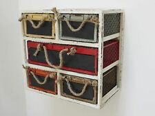 Vintage Industrial Metal wall storage with 5 drawers multi colour memo chalk