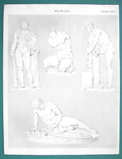 DRAWING for Artists Nude Figures Hercules Gladiator - c. 1835 Fine Quality Print