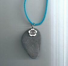 """SCOTTISH NATURAL SLATE 18-21"""" adjustable blue velvet SURFER pendant necklace"""