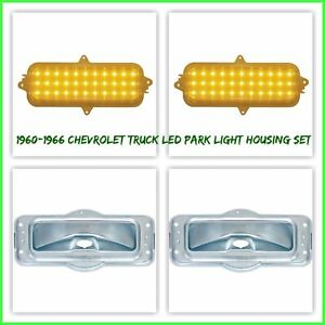 1960-1966 Chevrolet Pickup Truck LED Amber Park Lamp and Housing Complete Set