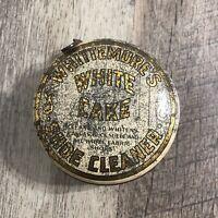 Vintage WHITEMORE'S Shoe Cleaner Tin White Cake Boston, Mass. USA Advertising