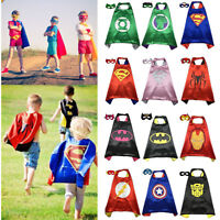 Kids Boys Superhero Cape With Mask Fancy Dress Costume Halloween Party Cosplay