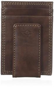 Dockers Men's Glazed Rustler Magnetic Money Clip Wallet, Brown, One Size