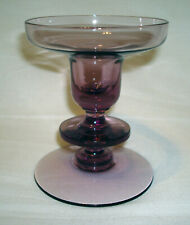 Vintage Mid Century Modern Amethyst Purple Glass Retro Candle Candlestick Holder