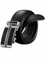 Genuine KS Dress Black Leather Mens Belt with Auto Lock Buckle 50 inches for GBH