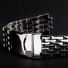 Uhrarmband Metall Edelstahl MASSIV poliert 20mm 7 Knoten Anstoß rund Blue Angels