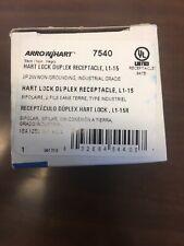 Arrow Hart Cooper 7540 Hart Lock Receptacle Duplex 15A 125V 2W L1-15 NIB