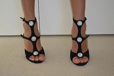 SIREN Black Party Wedding Jewel Dimond  Strappy Black Heels Leather Satin Sz 10