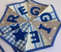 Boys Personalised Name Bunting/Banner Blue And Beige Taupe Spots Stripes
