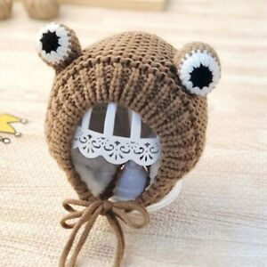 Cute Frog Eye Baby Hat Winter Warm Hat Kids Knitted Baby Hat Bonnet With Lacing
