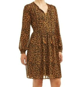 Time and Tru Women's Peasant Chiffon Leopard Print Dress Long Sleeve NEW