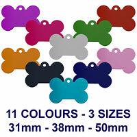ALLOY BONE ENGRAVED DOG/CAT ID NAME TAG DISC PERSONALISED PET IDENTITY TAGS