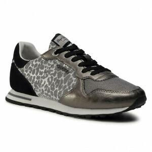 Pepe Jeans Verona Day Trainers UK 7 EU 40 Silver Grey Animal Print RRP £70
