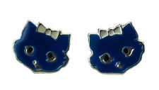 Boucle d oreille Clou Chat Japonais Maneki neko en Argent 925 -Bleu- 377 - K98