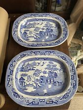 Pair Large Antique Victorian Blue & White Willow Pattern Meat Platters