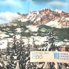 1956 VII OLYMPIC WINTER GAMES vintage brochure and map CORTINA, DOLOMITES, ITALY